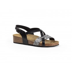 WOMEN'S LEATHER AND CORK SANDAL